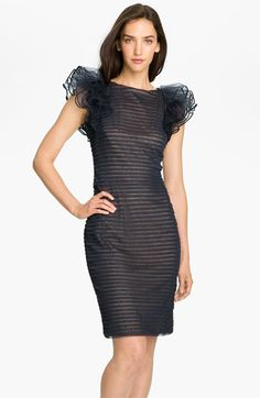 Tadashi Shoji Pleated  Ruffle Sleeve Mesh Dress available at #Nordstrom