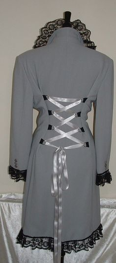 Jacket coat grey  Liz Claiborne  customised by darkestdreams, $45.00