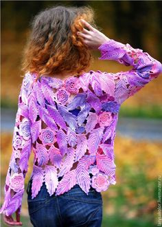 """Buy Pullover """"Watercolor"""" - pink, colorful, lilac, violet, pullover, sweater, sweatshirt, sweater knitting"""