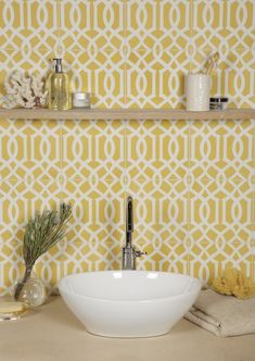 Lattice Pattern - Sulphur, 20 x 20 x cm Cheerful yellow Encaustic tiles also available in black, blue, green, red and smoke Yellow Tile, Yellow Walls, Laundry Room Inspiration, Tile Wallpaper, Kitchen Wall Tiles, Encaustic Tile, Yellow Bathrooms, Mellow Yellow, Blue Green