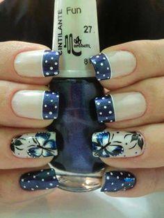 nail art bolinhas francinha unhas decoradas desenhadas artisticas borboleta