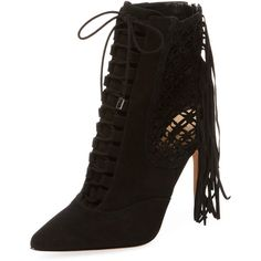 Alexandre Birman Women's Fringed Suede Lace-Up Bootie - Black - Size 9 (1.640 RON) ❤ liked on Polyvore featuring shoes, boots, ankle booties, black, lace up platform booties, lace up ankle boots, black suede booties, black high heel booties and fringe ankle boots