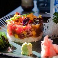 Tartar de atún rojo con mango.