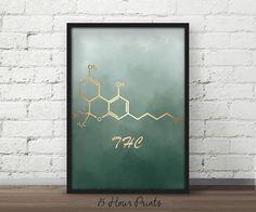Instant Download THC Art Print, THC Molecule, THC Poster, Thc Print, Chemistry Molecule, Funny Gift
