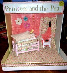 Princess and the Pea made from a shoe box, fabric, doll house bed with handmade pillows!