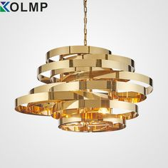 Post-modern creative gold metal pendant light plated stainless steel ring fashion hanging lamp for living room indoor 100-240n