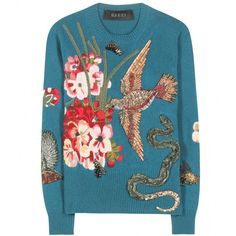 Embellished and embroidered wool sweater Gucci (113660 NIO) ❤ liked on Polyvore featuring tops, sweaters, gucci, jumpers, flower sweater, blue embroidered top, teal sweater, wool jumper and beaded tops