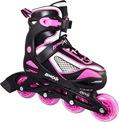 Children's Inline Skates - Girls Lenexa Venus Black  Pink Adjustable Inline Skates ** See this great product.