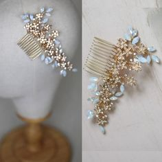 TAMARA | Sparkling Flower & Opal Crystal Comb