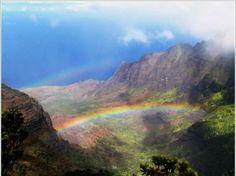 Rainbow, clouds, scenery.