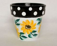 Sunflower and Polka Dot Flower Pot...lots of hand painted inspiration here!