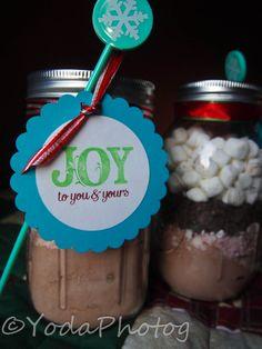 Awesome Hot Chocolate jar neighbor gifts for Christmas