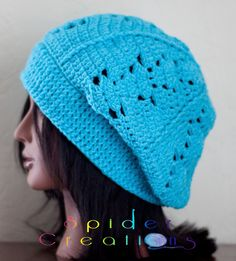 Turquoise Slouchy Tam Hat. $20.00, via Etsy.
