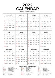 2022 Calendar Printable with Holidays All Year Calendar, Calendar Date, Online Calendar, 2021 Calendar, Blank Monthly Calendar Template, Printable Yearly Calendar, Blank Calendar, Free Calendars To Print, Federal