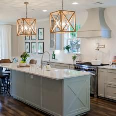 Modern Pendant Lights Create Focal Point for Remodeled Kitchen