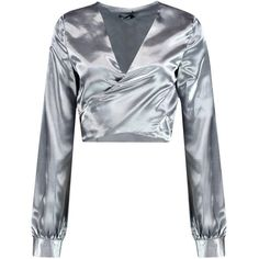 Boohoo Katherine Satin Knot Front Long Sleeve Blouse | Boohoo ($17) ❤ liked on Polyvore featuring tops, blouses, crop tops, crop blouse, flat top, cut-out crop tops, satin crop tops and knot front top