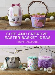 DIY Easter Basket Ideas. 7 unique and fun Easter basket ideas that you can make with items from around your house, like an empty milk jug or paint can.