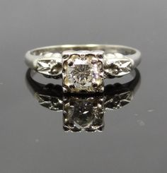 Feminine Scalloped Edge 1940s 14K White Gold Diamond by MSJewelers, $1545.00