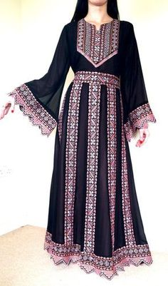 BLACK Pink Arabic Bedouin Palestinian traditional Abaya Dress Antique-Embroidery ~ Not big on pink, but look at the exquisite detail and pattern: