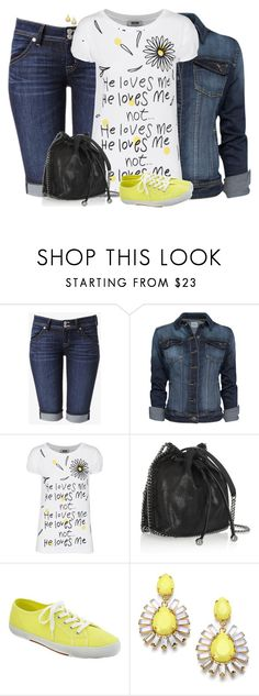 """""""Denim Jacket & a Bucket Bag"""" by sherbear1974 ❤ liked on Polyvore featuring Hudson Jeans, MANGO, Moschino Cheap & Chic, STELLA McCARTNEY, Old Navy and ABS by Allen Schwartz"""