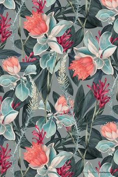 lush floral and foliage : asideproj: JUN | Australia | Colourway 2© Shelley Steer