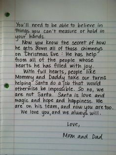 Santa Letter, for when the kids find out....absolutely LOVE this