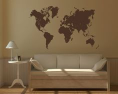 World map wall sticker: Just bought this in dark blue for our new apartment's dining room wall. Gonna buy push pins and mark everywhere we've been (an idea stolen from our Danish friends).