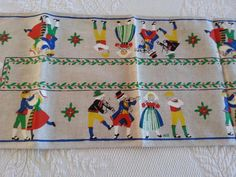 Vtg HILL Scandinavian Linen Blend Small Table Runner COUPLES DANCING 9.5x25""