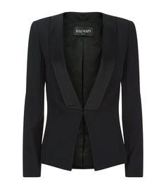 Balmain Satin Lapel Tuxedo Blazer Black  Harrods