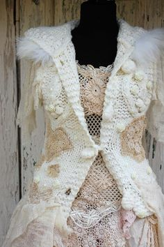 Sweater Snow whiteupcycled clothing shabby chicbeaded