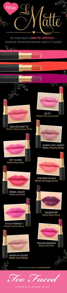 Too Faced La Matte Lipsticks: SEE ALL 10 SHADES! #toofaced