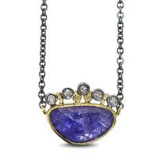 Tanzanite Pendant, Tanzanite Jewelry, Gemstone Jewelry, Oxidized Sterling Silver, Gemstone Colors, Handcrafted Jewelry, Pendants, Crown, Gemstones