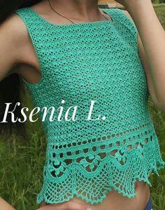 Beach Crochet, Crochet Summer Tops, Crochet Girls, Crochet Lace, Crochet Tops, Crochet Scarves, Crochet Clothes, Easy Stitch, Crochet Shirt