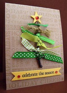 DIY Christmas Card. Green ribbons and yarns. Carried Away Blog. #christmas #DIY