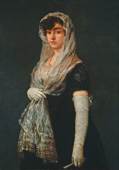 """Artist Francisco de Goya quickly became established as a portraitist of the leading members of Madrid society in the century. In Charles IV made him court painter. Francisco de Goya (Spanish), """"Young Lady Wearing a Mantilla and Basquina,"""" c. Francisco Goya, Spanish Painters, Spanish Artists, National Gallery Of Art, Art Gallery, Art Espagnole, Art Database, Wow Art, Illustrations"""