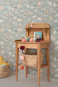 My Farm by Majvillan - Stone Blue - Wallpaper : Wallpaper Direct Boys Room Wallpaper, Old Wallpaper, Easy Up, Farm Kids, Waste Paper, Baby Boy Rooms, Baby Room, Handmade Home Decor, Home Decor Inspiration
