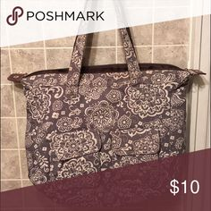 Thirty One rare retired grey floral zip tote Thirty One rare retired grey floral zip tote, well loved in great condition. Bags Totes