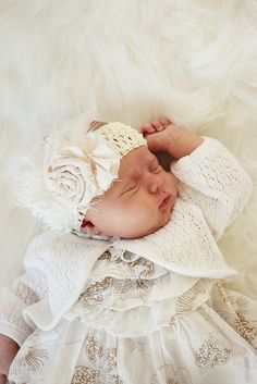 Baby Girl with Rose Head band and pretty Dress and Sweater ...