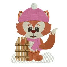 Winter Fox Wearing a Scarf Filled Machine Embroidery Digitized Design Pattern #christmas #embroidery #applique #winter