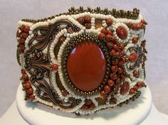 Red Jasper and Copper Bead Embroidered Cuff by christianvrodriguez