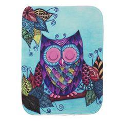 Sleepy Owl Burp Cloth