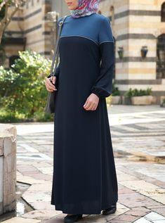 SHUKR's long dresses and abayas are the ultimate in Islamic fashion. Mode Abaya, Mode Hijab, Street Hijab Fashion, Abaya Fashion, Ankara Long Gown Styles, Abaya Designs, Muslim Dress, Islamic Fashion, Islamic Clothing