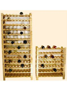 A 7 Shelf Wine Rack from WineRacks.com: $94.95    Constructed of solid unfinished pine, this rack will hold 56 wine bottles. The rack has 7 shelves holding 8 bottles each. Multiple racks can be stacked together for more storage.