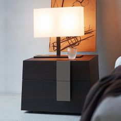 Bedside cabinet Genius by Orme in unique, modern design. Piece of Italian top quality bedroom furniture available in matt and bushed glossy lacquered finish