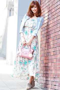 Japanese street fashion floral maxi dress
