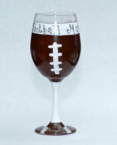 Football Mom hand painted Wine glasses