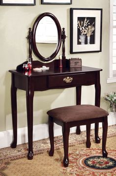 MILDURA ESPRESSO [CM-DK6051EX] Oval mirror and Queen Anne style legs give this vanity mirror a regal feel. The stool included has padded seat and the set is available in three finishes Vanity Sale for $135