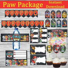 "INSTANT DOWNLOAD Paw Patrol Birthday Package for your Party !!  This is a PRINTABLE JPEG files! Simply print at home.  YOU GET: - Invitation (size: 5 x 7) - Banner (2 flags on each page. All letters,All numbers,5 Graphic Designs ) - Food Tent Cards or Place Cards (5 x 4 - folded to 2.5 x 4 ) - Bottle Labels (size: 2 х 8"" .) - Thank You Tags (size: approx. 2 х 4"") - Bag Toppers (size: 5 x 6 - folded to 2,5 x 6 ) - Cupcake Toppers (size: approx 2,1/4"" х 2,5"") -Please note that this is a…"
