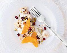 Fruit & Pistachio Meringues Holiday 2014, Recipe Details, Meringue, Pistachio, Magazine, Drink, Dinner, Fruit, Tableware
