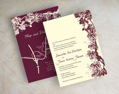 Wine, vinyard, burgundy and ivory wedding invitations, wedding invites www.appleberryink.com
